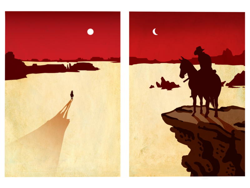 Red Dead 1 and 2 diptych horse cowboy video games red dead redemption design illustration