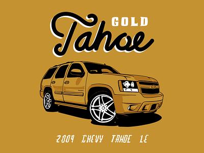 Gold Tahoe pepper dust gold design illustration car suv truck tahoe