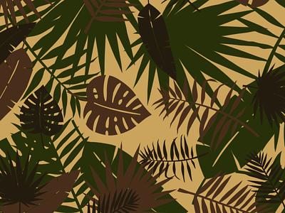 Tiki Jungle Camo illustration design tropical leaf palm jungle camouflage camo