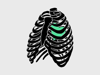 Caged bones skeleton design illustration spooky ribcage ribs halloween heart