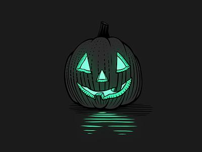 Lumpy Pumpy design illustration glow green jackolantern spooky halloween pumpkin