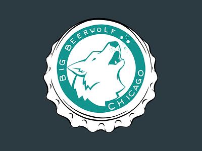 Big Beerwolf Bottle Cap beerwolf bottle cap beer wolf branding design logo illustration