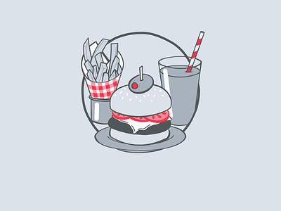 Tasty Food recommendations litlist illustration lunch olive shake fries burger food branding app