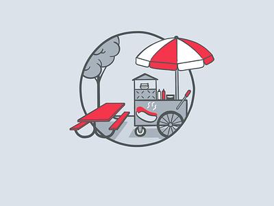 Hot Dog Cart food app litlist recommendations lunch hot dog hotdog illustration app food