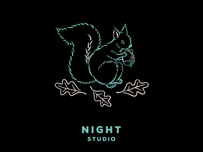 Night Studio: Prepare hand drawn autumn fall nut squirrel branding chicago logo design illustration
