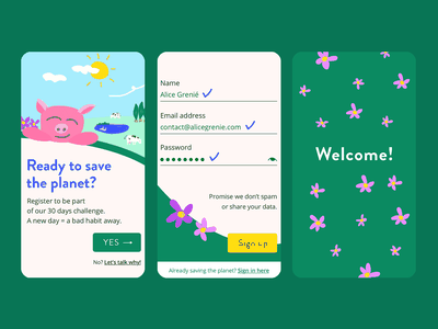 Sign up to save the planet! – Daily UI 001 colorful uxui dailyui 001 dailyui enviroment earth green pig welcome sign up form sign in sign up vector ui hand-drawing flat editorial drawing illustration design