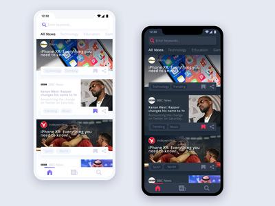 News App Dark and Light Theme