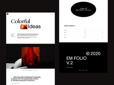 Em Folio 2020 web design webdesign web typography portfolio adobe xd sketch figma activity fashion ecommerce ux em app minimal ui idea design
