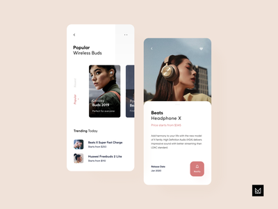 Headphone Store App user interface mobile store em em design headphone invisionapp invisionstudio invision adobe xd sketch ecommerce app minimal ui idea design