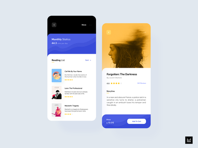 Bookstore App creative em design illustration book bookstore ux interface sketch invision em ecommerce app minimal ui idea design