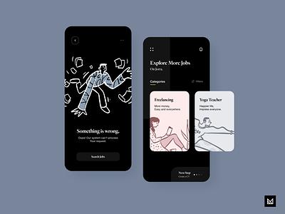 Job Finder - Black job board job illustration ux em activity app minimal ui idea design