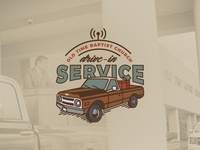 Drive-In Service illustrator buffalo ny church logo vintage 1970s truck chevy illustration social distancing coronavirus