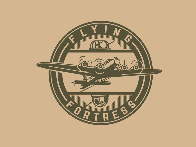 The Flying Fortress illustration america logo bomber airplane tshirt art illistrator