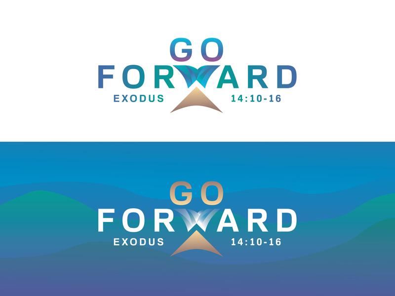 Go Forward church design buffalo ny moses red sea logo illustrator