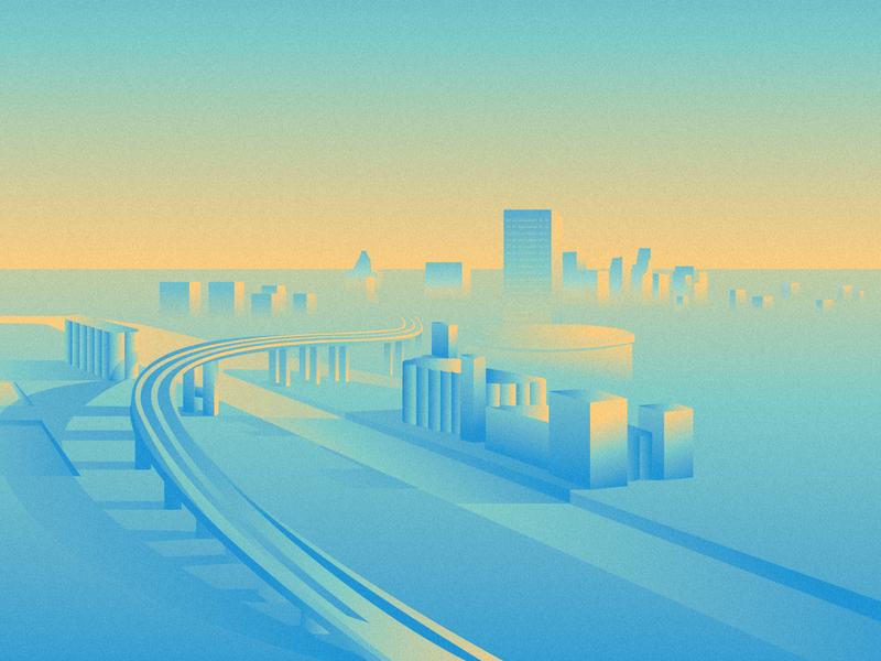 Skyway in the Morning buffalo illustration illustrator snow skyway buffalo ny