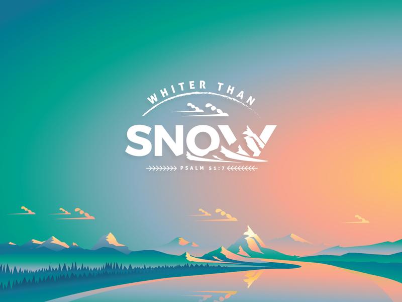 Whiter than Snow illustration church logo church logo illustrator winter mountains camp theme
