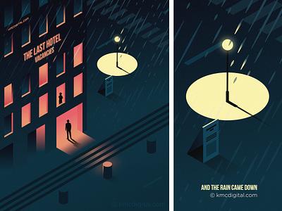 And the rain came down retrofuturism illustration