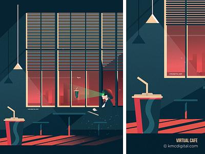 Virtual Cafe flat  design graphics retro illustrator editorial vector 2d illustration