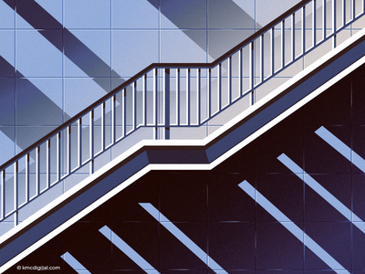 Spirit of the staircase tiles interior building architecture stairs stairway staircase vector illustration 2d