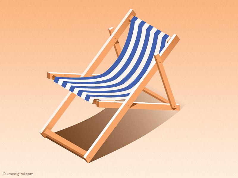 Summertime sun sand chair beach deckchair vector illustration 2d