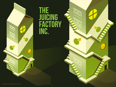 The Juicing Factory stairs carton factory juice illustration