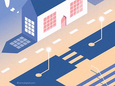 Urban study 3 zebra crossing environment urban town editorial vector 2d illustration