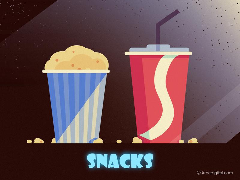Cinema Snacks editorial illustration straw cups snacks cinema illustrator graphics editorial vector 2d illustration