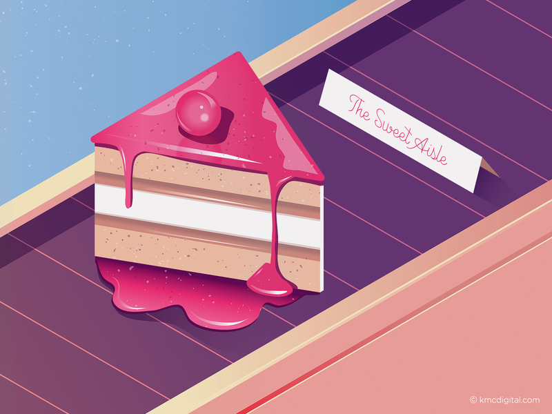 The Sweet Aisle dessert groceries sweet supermarket shopping cake food and drink food art food editorial vector 2d illustration