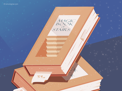 Magic Book of Stairs magical staircase stairs books magic illustrator design graphics editorial vector 2d illustration