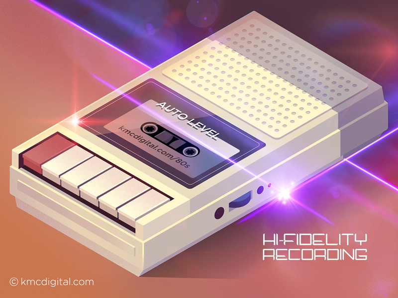 'Retro Cassette Recorder' Illustration retro future 80s style vaporwave retro design eighties audio airbrush tape recorder cassette tape cassette cassette recorder 1980s illustrator vector 2d illustration retro