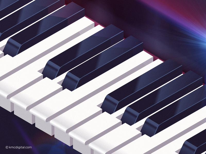 'Key Moments' Illustration musical instrument piano keys concert poster art music art classical music isometric art isometric keyboard synthesizer music pianist piano flat  design illustrator editorial vector 2d illustration
