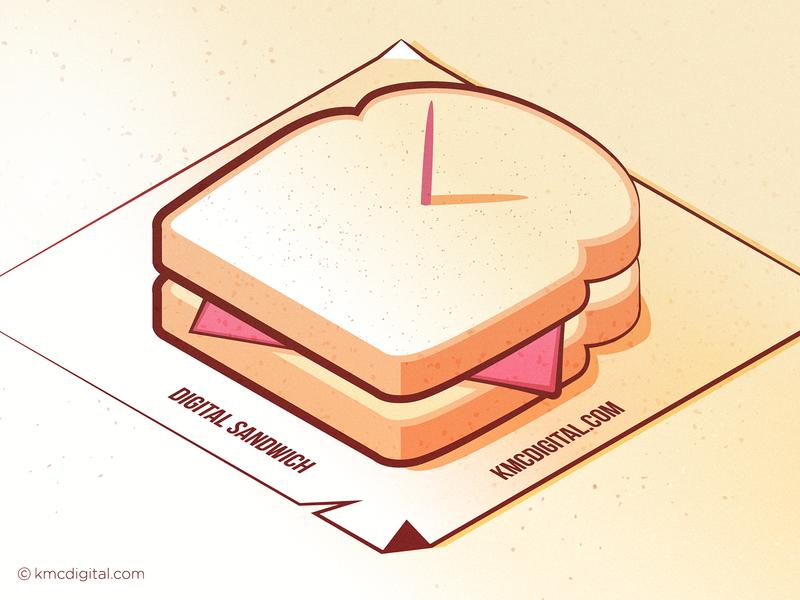 'Digital Sandwich' Illustration illustrator art vector artwork vector art iconography icon artwork icon sandwich isometric flat  design design graphics illustrator editorial vector 2d illustration