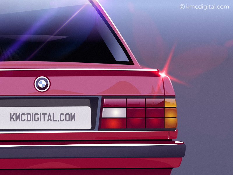 '1991 BMW 318' Illustration automotive design automobiles automotive bmw car illustration car vector artwork 1990s flat  design retro illustrator editorial vector 2d illustration