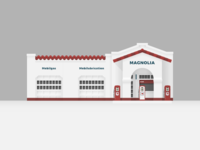 Little Rock Mobil Gas Station Illustration