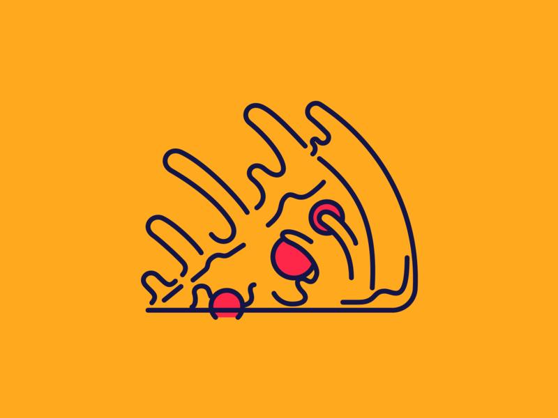 'Za falling stroke vector illustration icon pie pepperoni cheese slice pizza