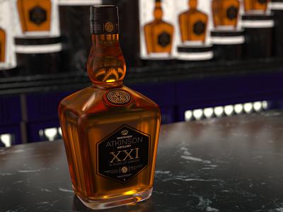 Atkinson Whisky octane 3ds max 3d branding glass bottle whisky production design