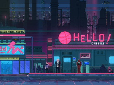 Hello Dribbble! debuts shot first night club invite first shot debut pixelart pixel art