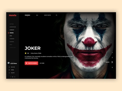 Movie UI UX films film poster live tv series design john wick joker video site film site tv site site xd adobe ux ui television tv cinema movie film