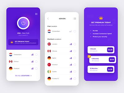VPN App explore brand wifi premium germany server vpn application vpn mobile vpn app application design blue purple clean ux ui mobile app vpn