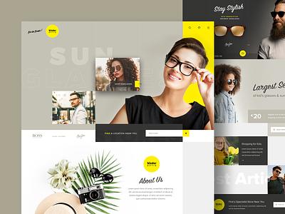 Glasses Boutique Concept Design design website homepage ecommerce yellow creative website design ui fashion