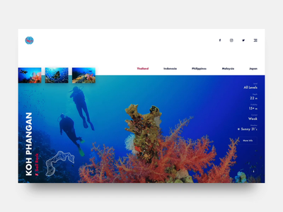 PADI UI Concept ui outdoor adventure diving travel color design website