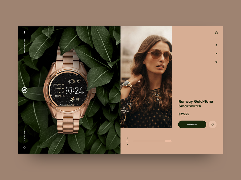 Watch Store UI Concept accessories jewelery rose gold green shop app shopping watch store watch ui design ui website