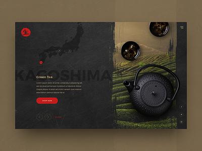 Teahouse Concept dark coffee tea ui design website