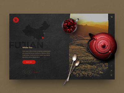 Teahouse White Tea Concept creative dark tea coffee drinks food outdoor ecommerce design ui website