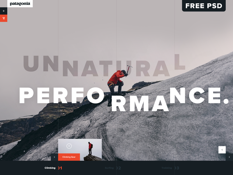 Patagonia Climbing Gear UI Concept psd mockup free psd patagonia fashion outdoor ecommerce color design website