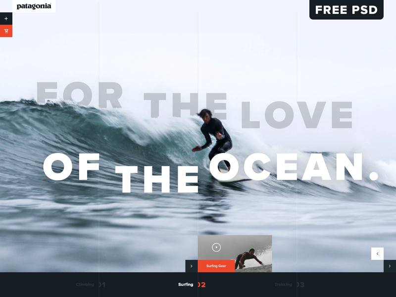Patagonia Surfing Gear UI Concept tall psd mockup free psd surf outdoor ecommerce ui design website