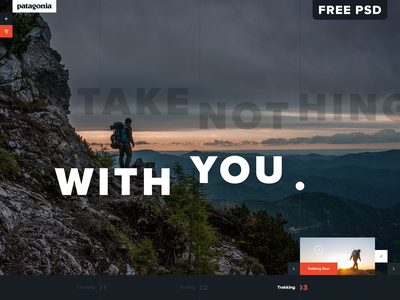 Patagonia Trekking Gear UI Concept tall free psd psd mockup travel fashion outdoor ecommerce ui design website