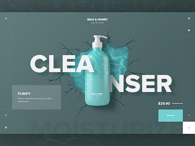Beauty Brand UI Concept Cleanser  2x free psd psd mockup beauty creative fashion ecommerce ui design website