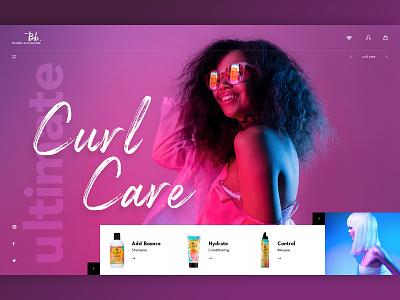 B&B Hair Care UI Concept hair products salon neon shop creative fashion color ecommerce ui design website