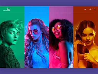 B&B Hair Care UI Concept hair products salon creative fashion neon color ecommerce ui design website